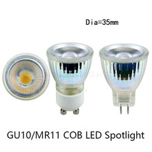 1pcs 220V LED Spotlight Mini GU10 MR11 35MM 5W Dimmable COB LED Bulb Light AC/DC12V LED GU10 cob lamp light replace Halogen lamp(China)