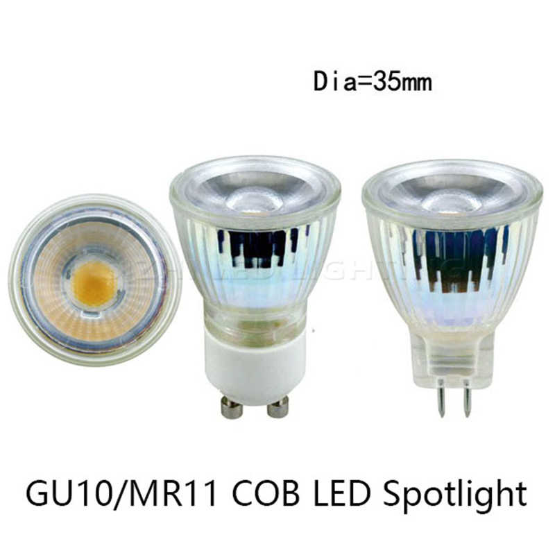 1pcs 220V LED Spotlight Mini GU10 MR11 35MM 5W Dimmable COB LED Bulb Light AC/DC12V LED GU10 cob lamp light replace Halogen lamp
