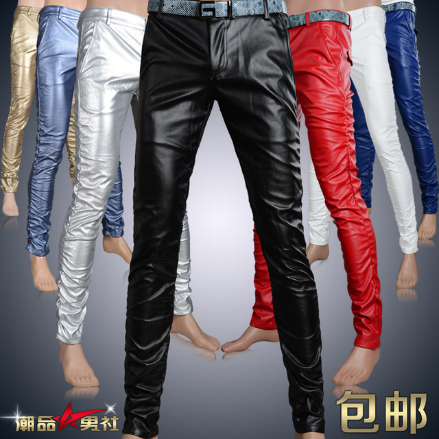 new Stage performances pants fashion mens Leisure personality men's tight PU leather pants velvet male singer slim trousers
