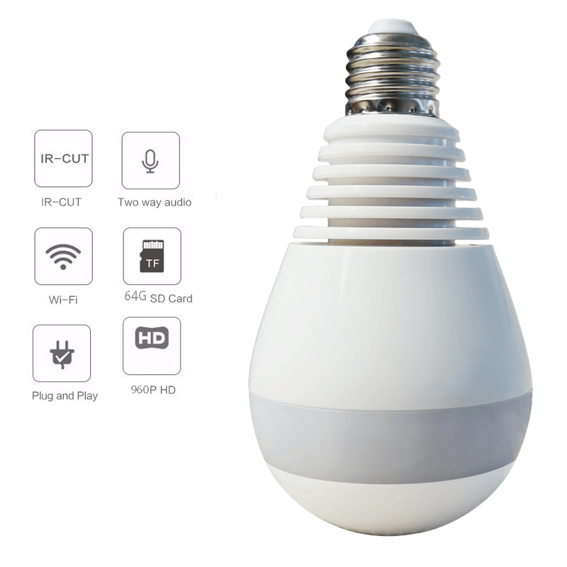 1440P HD 3MP Bulb Light Wifi Mini Panoramic Wireless IP Camera FishEye 360 Degree Panoramic Mini Lamp Wifi P2P Cam Home Camera new hd 3mp led bulb light wireless camera fisheye panoramic wifi network ip home security camera system for ios android p2p