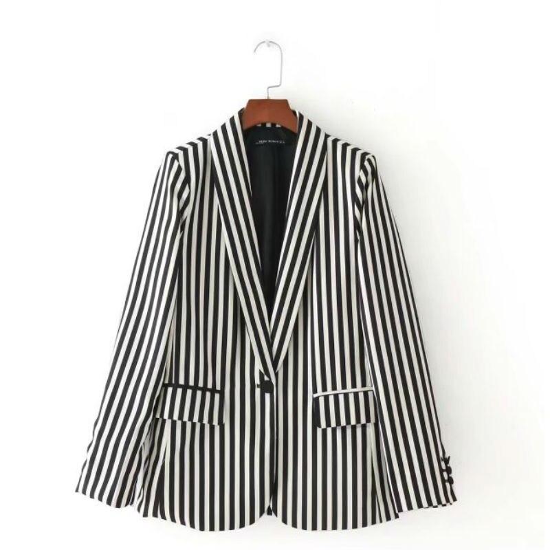 Spring Autumn Jacket Coat Women Single Button Black and