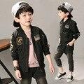 Primavera Otoño Chaquetas para Niño Bomber Jacket Coat Chaqueta Rompevientos Ejército Verde del Muchacho de Mickey Imprimir Kids Niños Chaqueta 2017