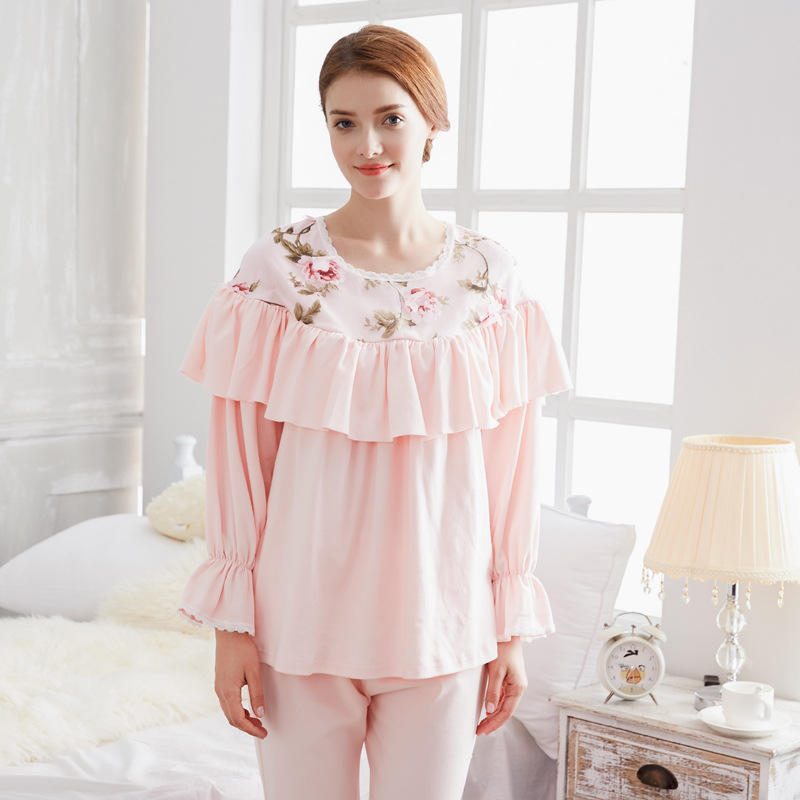 Fashion Pink Pregnancy Pajamas Sets Pajamas for Pregnant Women Cotton Full Sleeve Breastfeeding Clothes Nursing Sleepwear Set цена