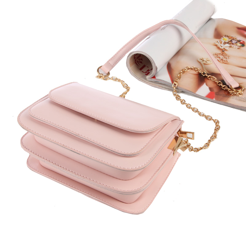 2018 European and American fashion small square bag multilayer women's handbags shoulder bag with chain crossbody bags for girls 3