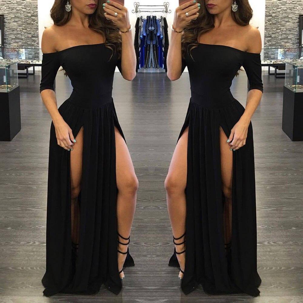 2019 New S-XL Vintage Women Sexy Formal  Dress Party Solid Split Long Dresses Black Sexy Female Dress   A20