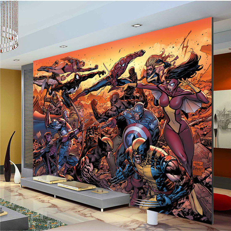 Entrancing 50 marvel wall mural design ideas of marvel for Cartoon mural wallpaper