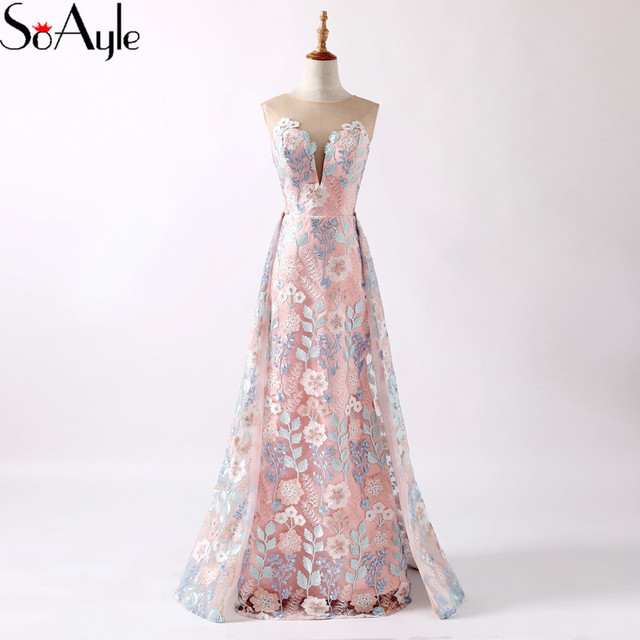 SoAyle Mermaid 2018 Evening Dresses Lace Applique Vestidos De Festa Robe De  Bal Women s Prom Dresses Formal Gowns Floral Dress e7d74022f07e