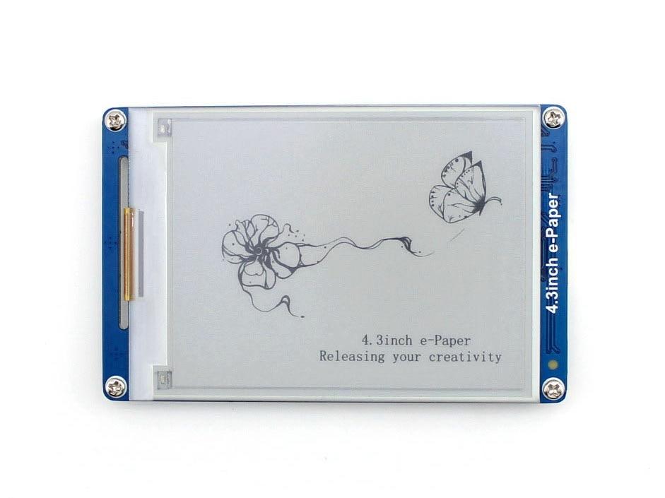 Waveshare 4,3 pulgadas e-papel UART módulo de E-ink pantalla LCD resolución de 800x600 4 nivel gris pantalla geométrico gráficos textos imágenes