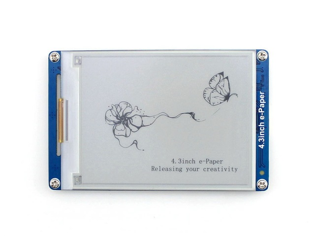 Waveshare 4.3inch e Paper UART Module E ink LCD Display,800x600 Resolution,4 grey level display geometric graphics,texts,images