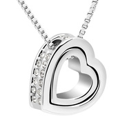 Austria Clear Crystal Heart In Heart Necklace Pendant Women Accessories Girlfriend Jewelry Gift For Wedding Love