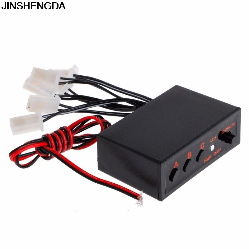 JINSHENGDA 6 Ways LED Strobe Flash Light Lamp Emergency Flashing Controller Box DC 12V Car