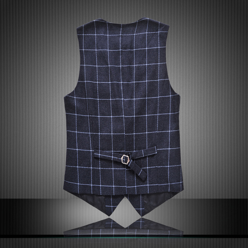 MOGU 2017 Fitted Blazer Business Vest Men Plaid Slim Fit Vest Male High Quality Blazer Waistcoat Men Plus Size Gilet Homme 6XL