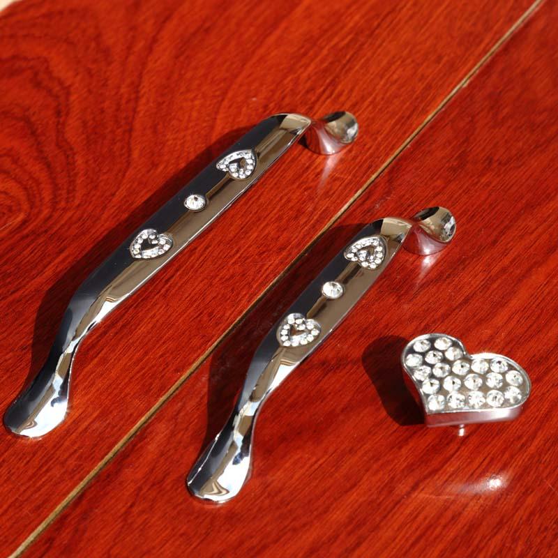 128mm Fashion creative rhinestone love furniture handle shine silver win cabinet dresser handle glass crystal drawer knob 96mm in winear007 450w black silver