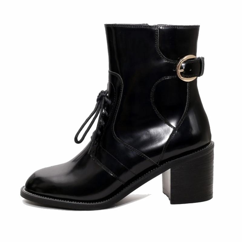 Zyl1362 Bout Bottines Rond Talons 2018 À Chaussures Anmairon 39 34 Bottes Zapatos Black Femmes Mujer Taille De Lacets Hauts xwRXqTz