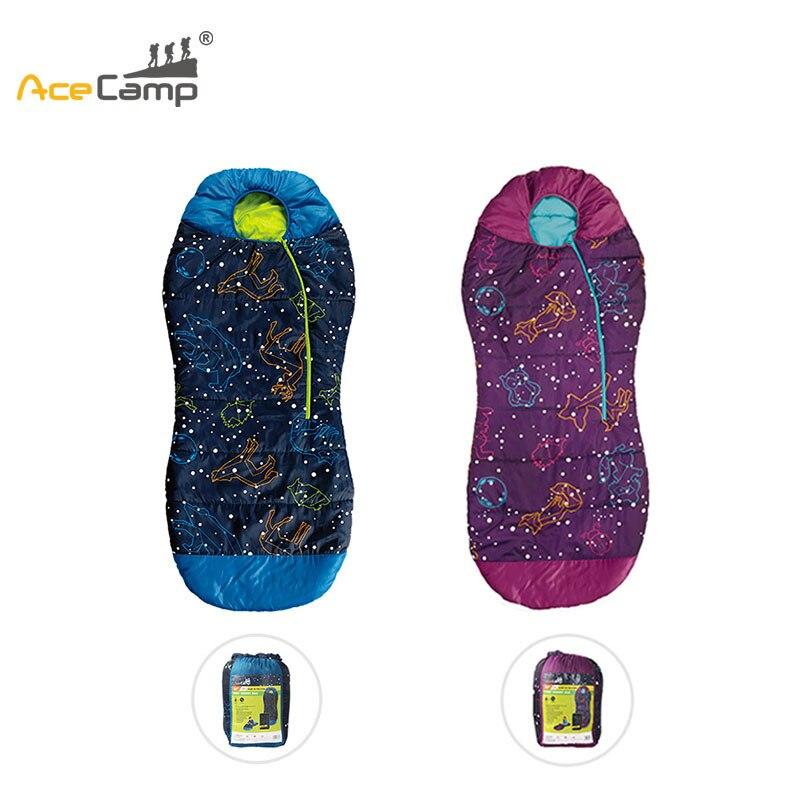 AceCamp Portable Folding Kids Sleeping Bag Mummy Style Temperature 30F /-1C Starry Sky Seal Luminous Warm Sleeping Bag