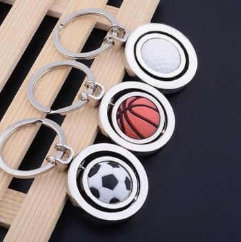 New hot selling free DHL shipping 50pcs/lot Spinning Football Basketball Golf Keychains Metal Swirling Soccer Keyrings for Gifts цена 2017