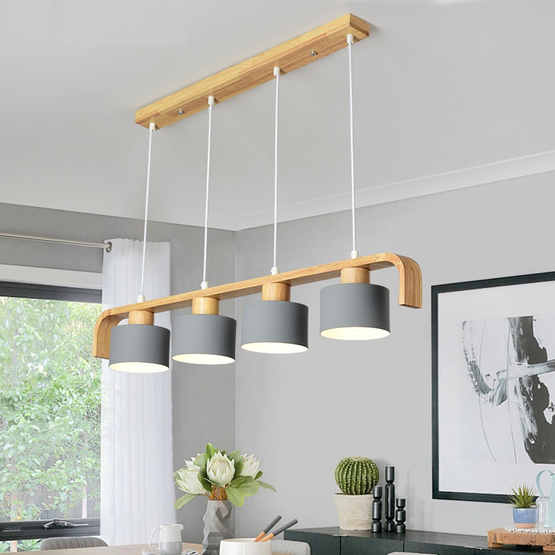 LukLoy Wood Modern Pendant Lights LED Kitchen Lights LED Lamp Hanging Lamp Kitchen Table Bedroom Bar Counter Lighting Fixtures