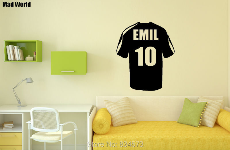 Mad World Personalised Name Football Soccer Shirt Wall Art Stickers ...