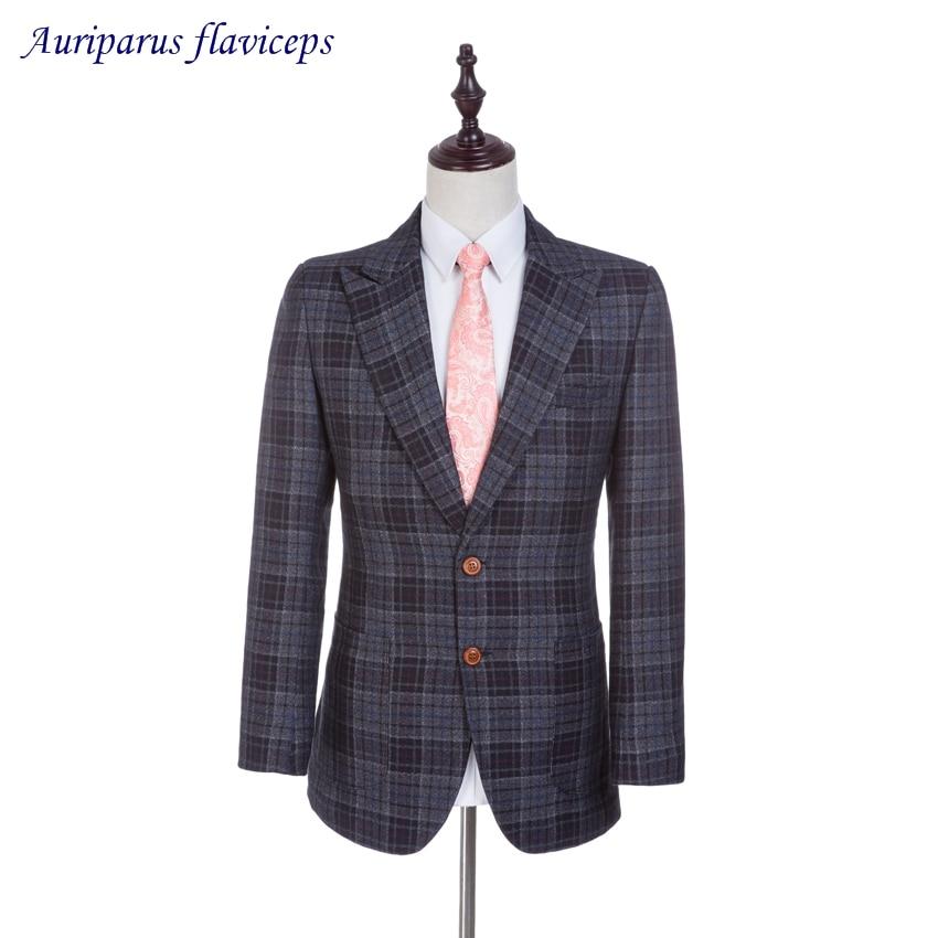 Good 2019 New Jacket Tweed Suit Jacket Notched Lapel Groom Tuxedos Damier Check Suit Jacket Custom Made Blazer 1 Piece