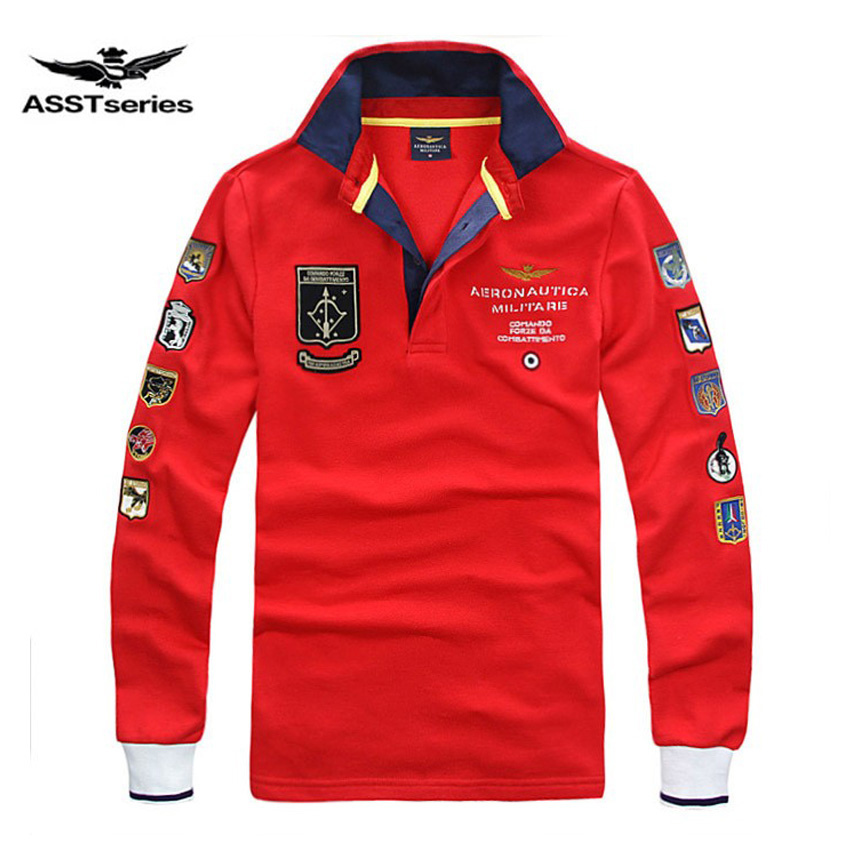 Free Shipping New Arrival aeronautica militare men long sleeve   T  -  shirt   fashion style male letter-printed Turn-down Collar Tees