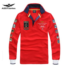 Free Shipping New Arrival aeronautica militare men long sleeve T-shirt fashion style male letter-printed Turn-down Collar Tees