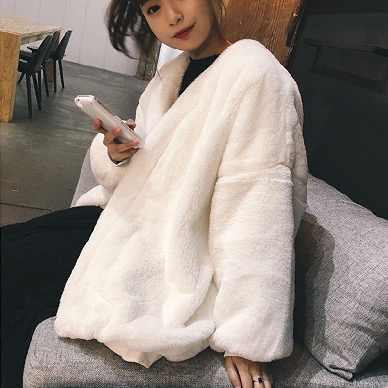 Fourrure Tempérament Nouvelle Femme Lâche Veste Manteau Blanc Imitation Faux Vêtements 2018 Lapin De noir D'hiver Mode Rex Coréenne Longue fFxwHwnq6Y