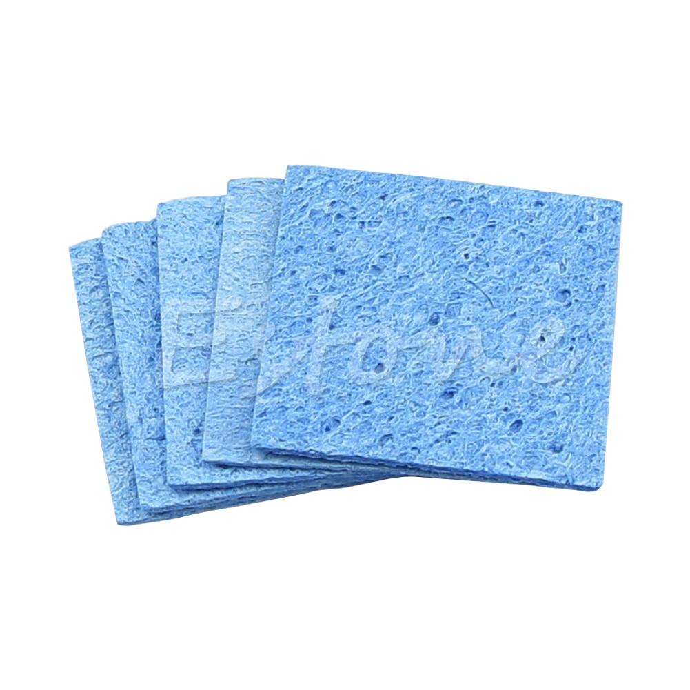 Hot 5pc Soldering Iron Solder Tip Welding Cleaning Sponge Pads Blue Size 6cm*6cm