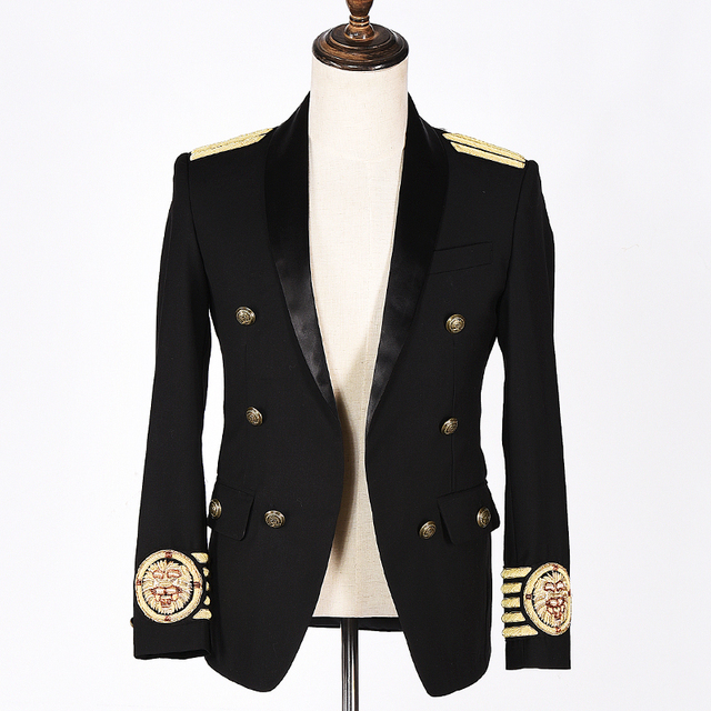 balma brand-clothing slim fit black casual blazer embroidered lion head gold thread  costume stage masculino men