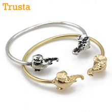 Trusta New Gold/Vintage Silver Tone Fashion Jewelry 2.8″Diameter Cuff Bangle Few Sizable Elephant Bracelet RDJ freeshipping