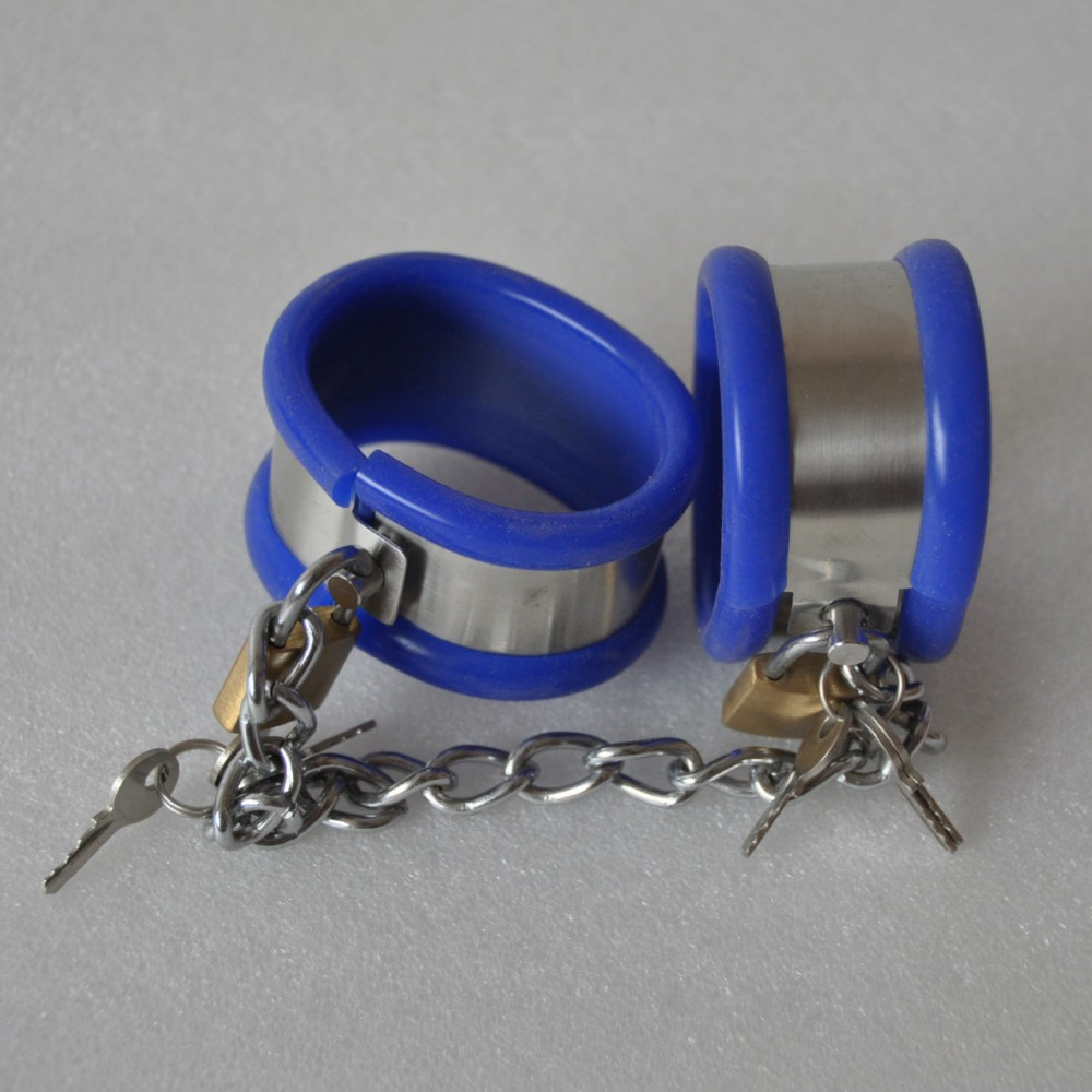 ФОТО Top stainless steel silicone bondage handcuffs bdsm fetish wrist restraints chastity belt hand cuffs erotic toys sex products