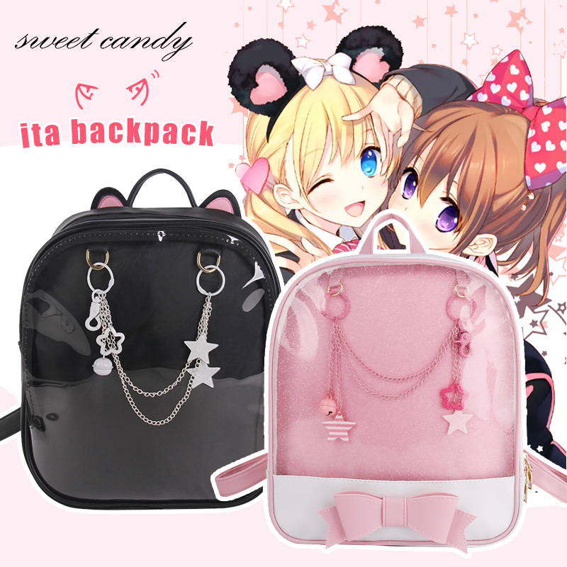 Summer Candy Color PU Transparent Cat Ear Modeling Backpack Flower Zipper Women Clear Daily Backpack Girls School Bag Chain Deco