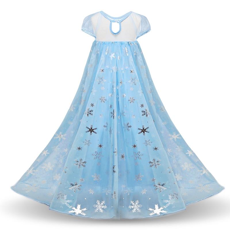 HTB1IJA4biLrK1Rjy1zdq6ynnpXag 2019 New Elsa Dress Girls Summer Dress Princess Anna Cosplay Costume Dresses For Girl Princess Vestidos Menina