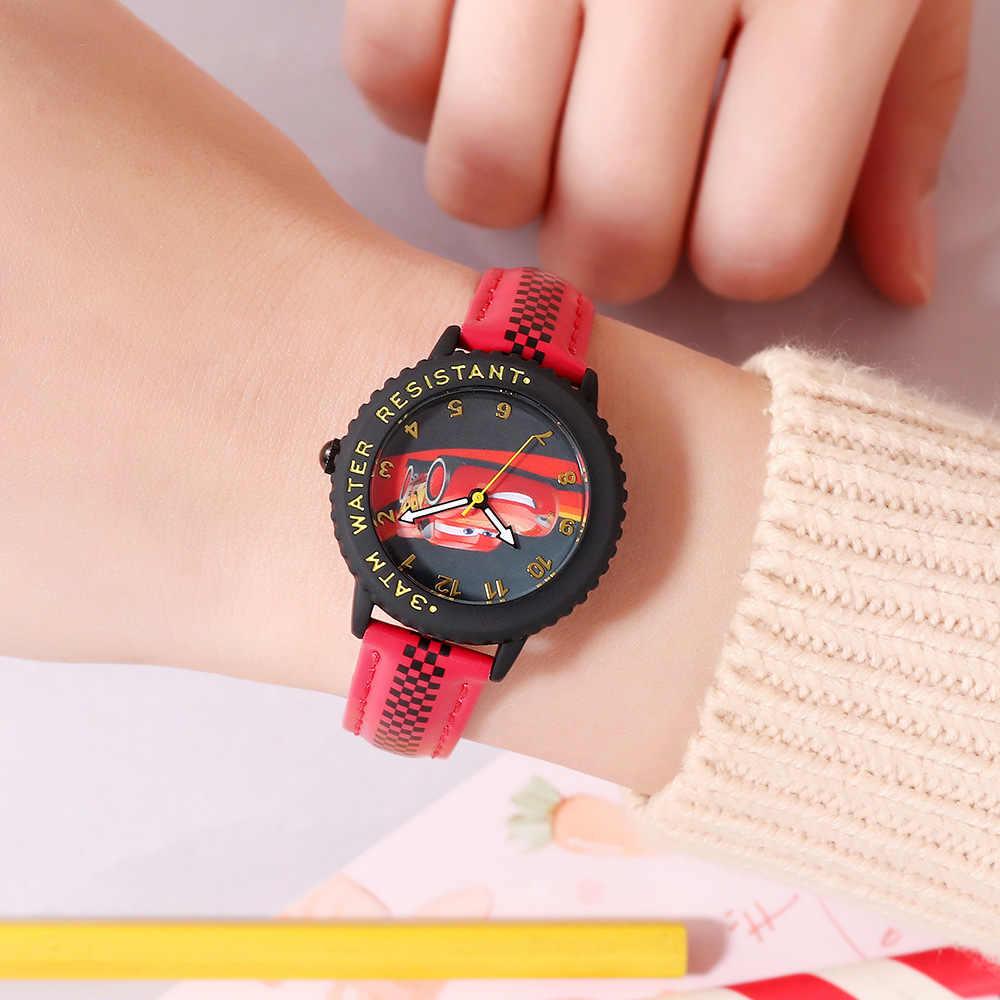 דיסני מותג בני בנות ילדי שעוני יד קוורץ עמיד למים עור ילד שעונים תלמיד קריקטורה אנימה אדום כחול