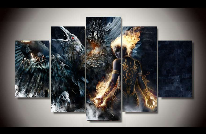 Fantasy Battle Art 5 Piece Picture Painting Decor Poster Wall Pictures For Living Room Decorate Murals On Canvas W 0534 In Calligraphy From