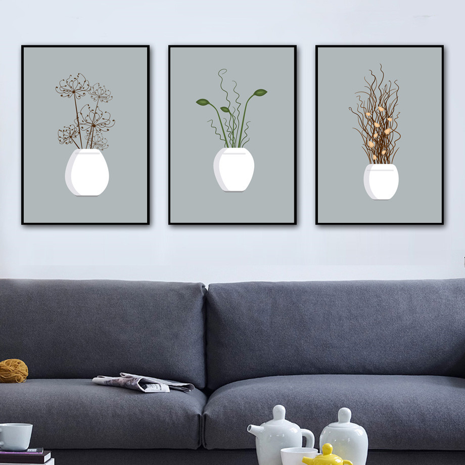 Potted-Plant-Flower-Wall-Art-Canvas-Painting-Nordic-Posters-And-Prints-Wall-Pictures-For-Living-Room
