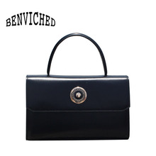 BENVICHED Ladies' Cattle leather Dinner bag 2019 new fashion women black handbag single shoulder bag retro Banquet bag c384 benviched 2018 autumn winter single shoulder bag slash embroidered plum blossom literatur nylon red bag original bucket bag c145