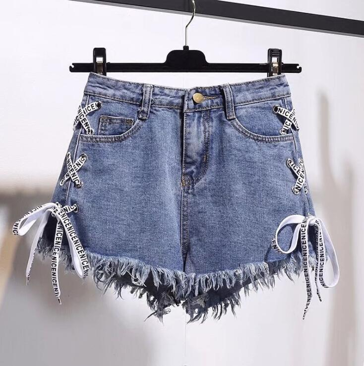 Summer New Women <font><b>Sexy</b></font> High Waist Bandage Bodycon Denim Ripped Hole <font><b>Short</b></font> Jeans Mini <font><b>Shorts</b></font> White Blue <font><b>Black</b></font> S-3XL 4XL 5XL 6XL image