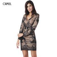 ORMELL 2017 Fashion Sexy Bodycon Vintage Sequin Dress Women Glitter Embroidery V Neck Spring Party Dresses