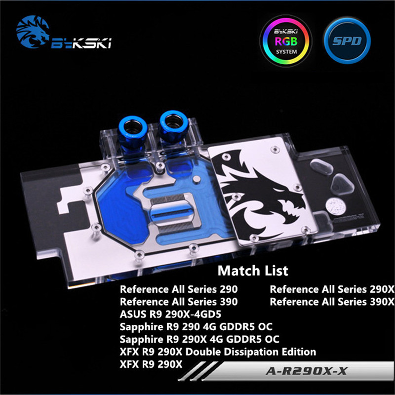 Bykski Full Coverage GPU Water Block For Reference All Series Sapphier XFX R9 390X 290X R290 Graphics Card A-R290X-X цена