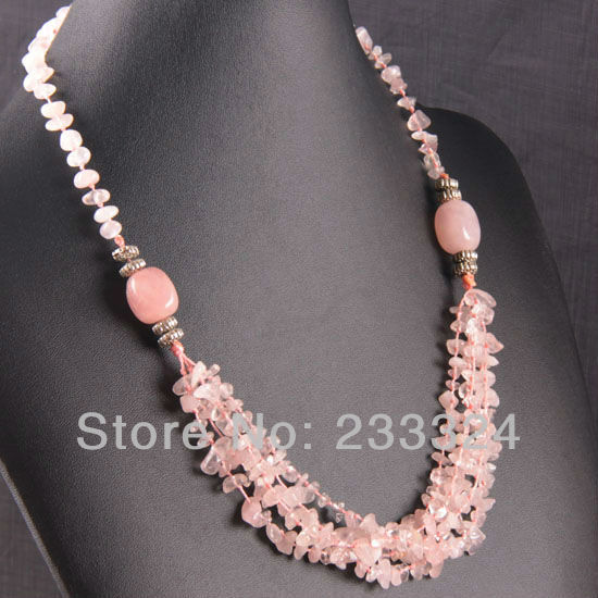 Free Shipping 5X8MM Pink Crystal Chip Beads Nylon Line Weave Crystal Necklace 22 1Pcs E738