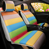 7PCS Car Interior Accessories Automobiles Seat Covers Soft Breathable Linen Fabric Car Seat Cover Four Seasons