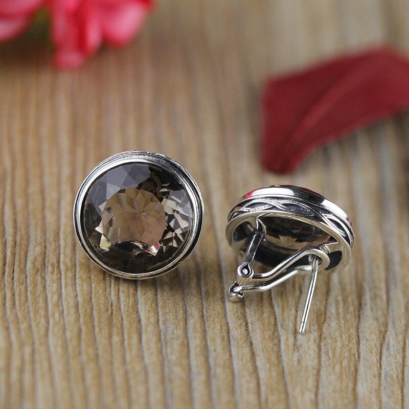 Le personnage de boucles d'oreilles en argent S925 argent incrusté à la main cristal thé dame rétro oreille clip femme boucles d'oreilles en argent