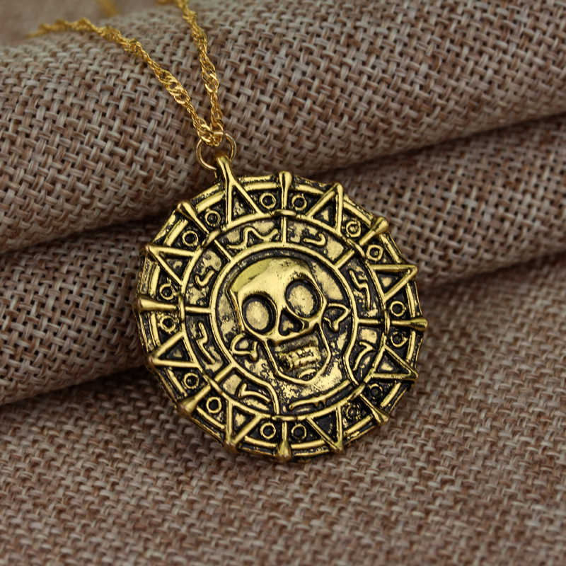 Hot Pirates Of The Caribbean Necklace Jack Sparrow Aztec Coin Medallion Vintage Gold Bronze Silver Pendant Wholesale