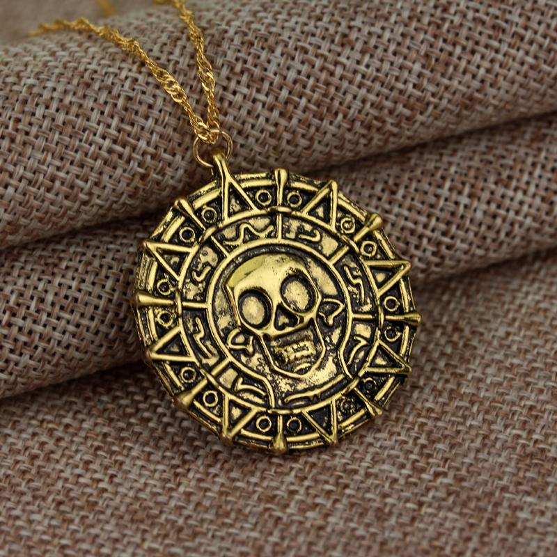Hot Pirates Of The Caribbean Necklace Jack Sparrow Aztec Coin Medallion Vintage Gold Bronze Silve Pendant Wholesale