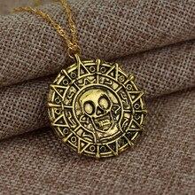 Quente piratas do caribe colar jack sparrow asteca moeda medalhão vintage ouro bronze silve pingente atacado