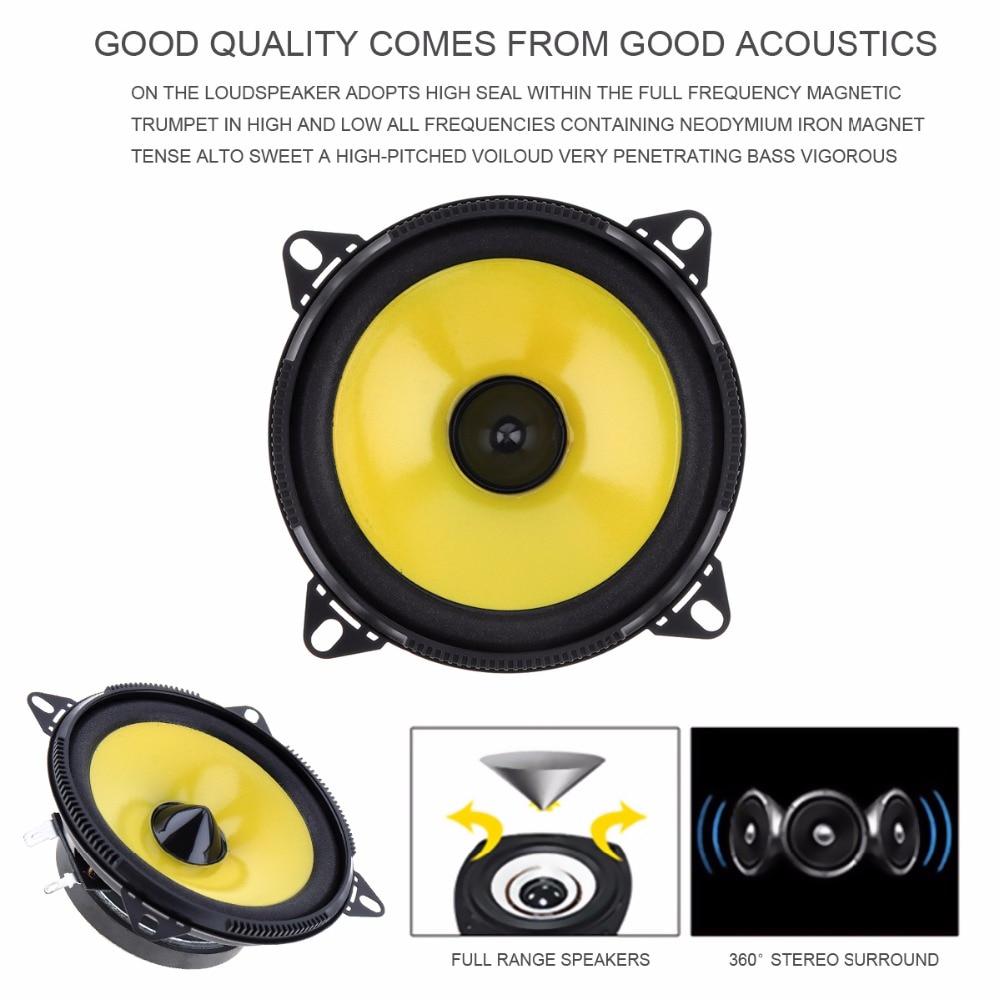 2pcs 4 inch 80W 88dB 2 Way Full Range Frequency Car Audio Stereo Coaxial Speaker Car