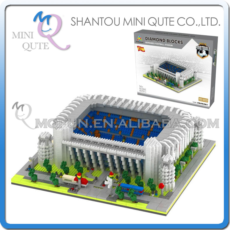Mini Qute YZ world architecture Bernabeu Stadium football Court plastic building blocks educational toy часы mini world mn1012a