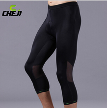 Cheji Mens Cycling Mountain Bike Bicycle Coolmax Shorts Pants 3D Padded Black