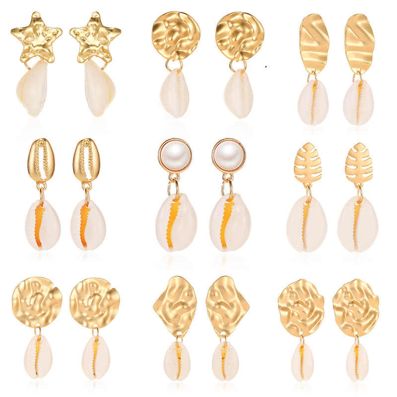 e927 Sea Shell Earrings For Women Gold Silver Color Metal Shell Cowrie Statement Earrings 2019 New Summer Beach Boho Jewelry