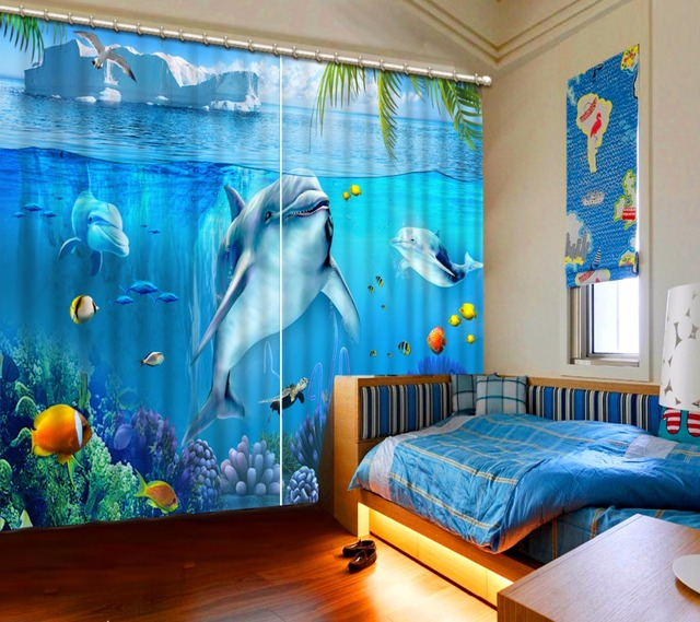 Curtains 3d Curtains For Kids Bedroom Underwater World Landscape Dolphins  Blue Curtains For Living Room Custom